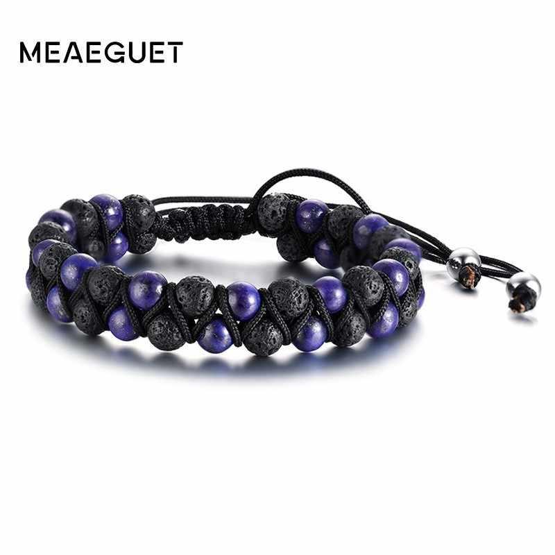 Lapis lazuli masculino contas pulseira artesanal onda trançado ajustável duplo onda cadeias link masculino charme pulseira