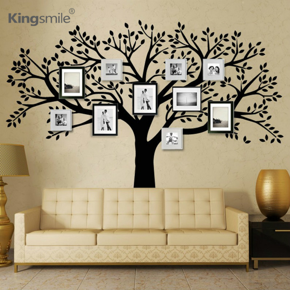 Foto di famiglia enorme Albero Adesivi murali in vinile Nero Rami di un albero Decalcomanie Wallpaper Wall Sticker for Living Room Sofa Home Decor
