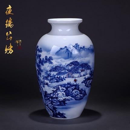 Jingdezhen Porcelain Hand Painted Blue And White Porcelain Vase