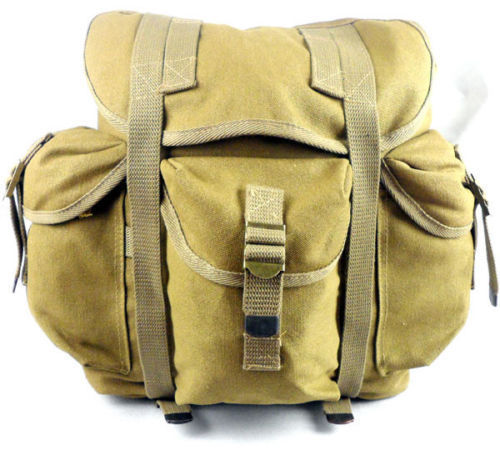 THE VIETNAM WAR US ARMY MILITARY HAVERSACK BACKPACK CANVAS BACKPACK BAG POUCH