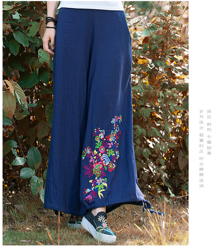 21a5f7c629376 Loose Linen Pants Women Summer Plus Size Wide Pants Black Long ...