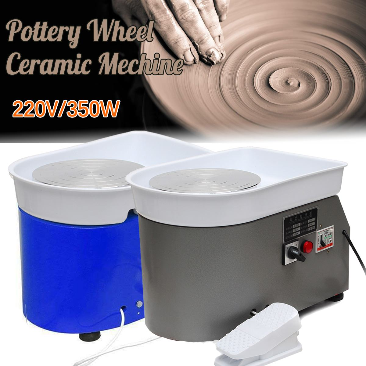 Blue Mini Electric Pottery Wheel Machine Small Pottery Forming Machine with Tray for DIY Ceramic Work Clay Art Craft