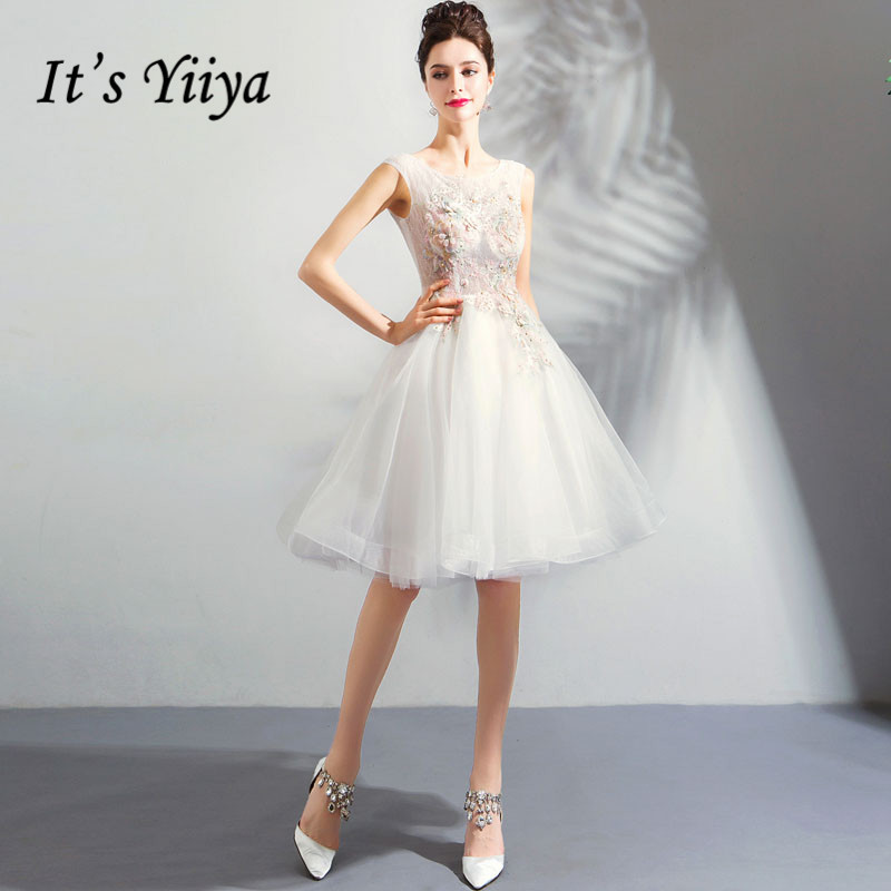 It's YiiYa   Cocktail     Dress   Pearls Beading Knee Length Party Gowns Sequins Embroidery Flowers O-neck Lace Up Formal   Dress   E199
