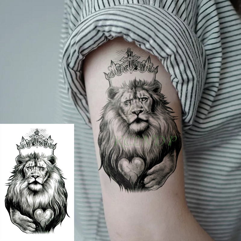 Waterproof Temporary Tattoo Stickers King Lion Crown Heart Cross Fake Tatto Flash Tatoo Body Art Tattoos For Girl Women Men Kid
