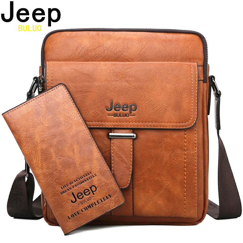 JEEP BULUO Men Messenger Bags High Quality Large Capacity Man Bag Crossbody Shoulder Tote Bags For Male Split Leather New Bag