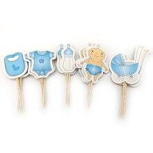 20 adet/grup erkek bebek iyilik doğum günü şişeleri şekilli Cupcake Toppers bebek duş parti bebek arabası tasarım süslemeleri kek Toppers