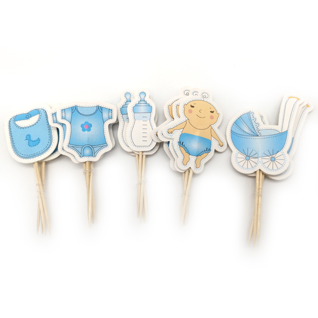 20pcs/lot Baby Boy Favors Birthday Bottles Shaped Cupcake Toppers Baby Shower Party Baby carriage Design Decorate Cake Toppers