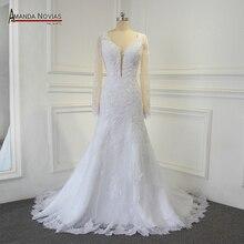 Sexy backless real foto trouwjurk amanda novias robe de mariee