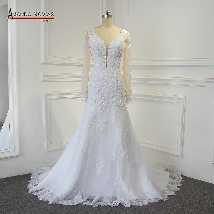 Sexy Backless Real Photos Wedding Dress Amanda Novias Robe