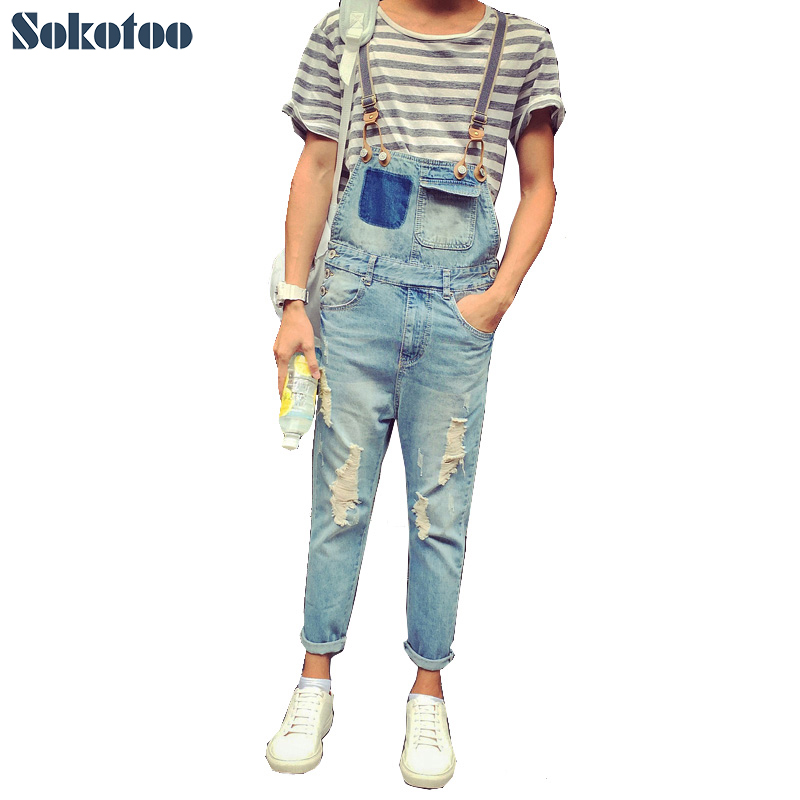 Sokotoo Men's summer style pockets denim overalls Hole ripped crop jeans for man Ankle length Jumpsuits Free shipping denim overalls male suspenders front pockets men s ripped jeans casual hole blue bib jeans boyfriend jeans jumpsuit or04
