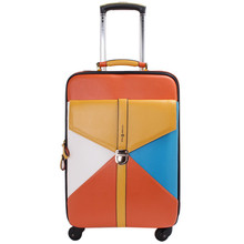 Brands men Fashion Business PU Hit color women travel suitcase universal wheels trolley bags  rolling luggage bag Mute 20