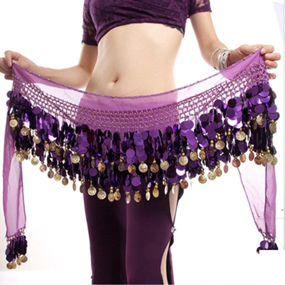Women Gold Metal Coins Waist Chain Belly Dance Hip Scarf Belt Scarf Skirt