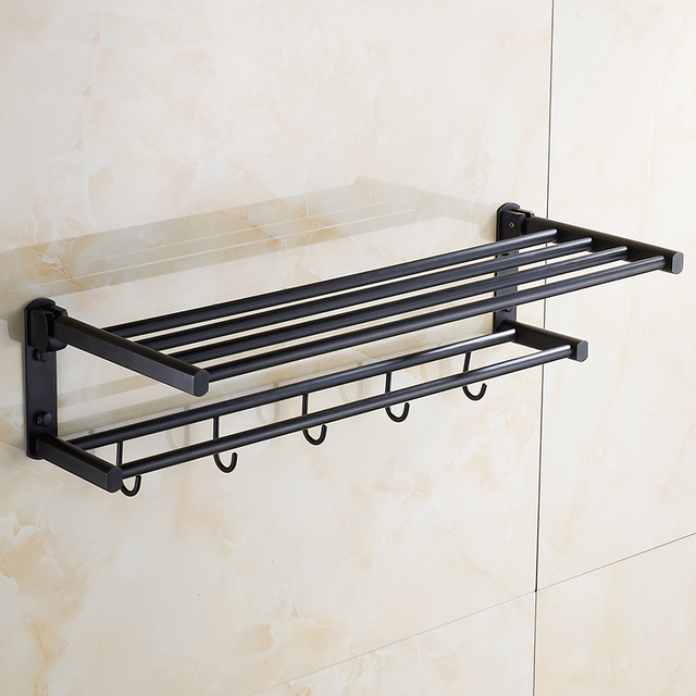 60cm Towel Rack Shelf With Hooks Wall Mounted Oil Rubbed Bronze Black