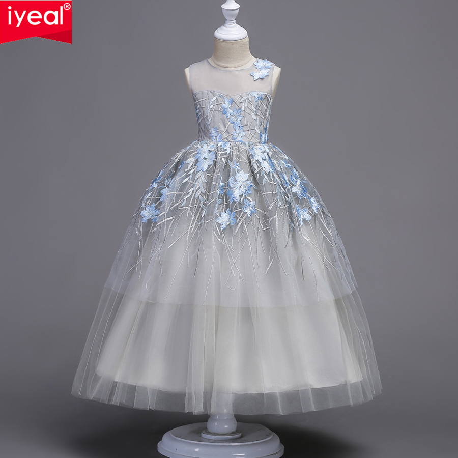 IYEAL 5 14 Years Girls Elegant Children Birthday Party Dress 2018 New Kids Embroidery Tulle Sleeveless Evening Wedding Dresses