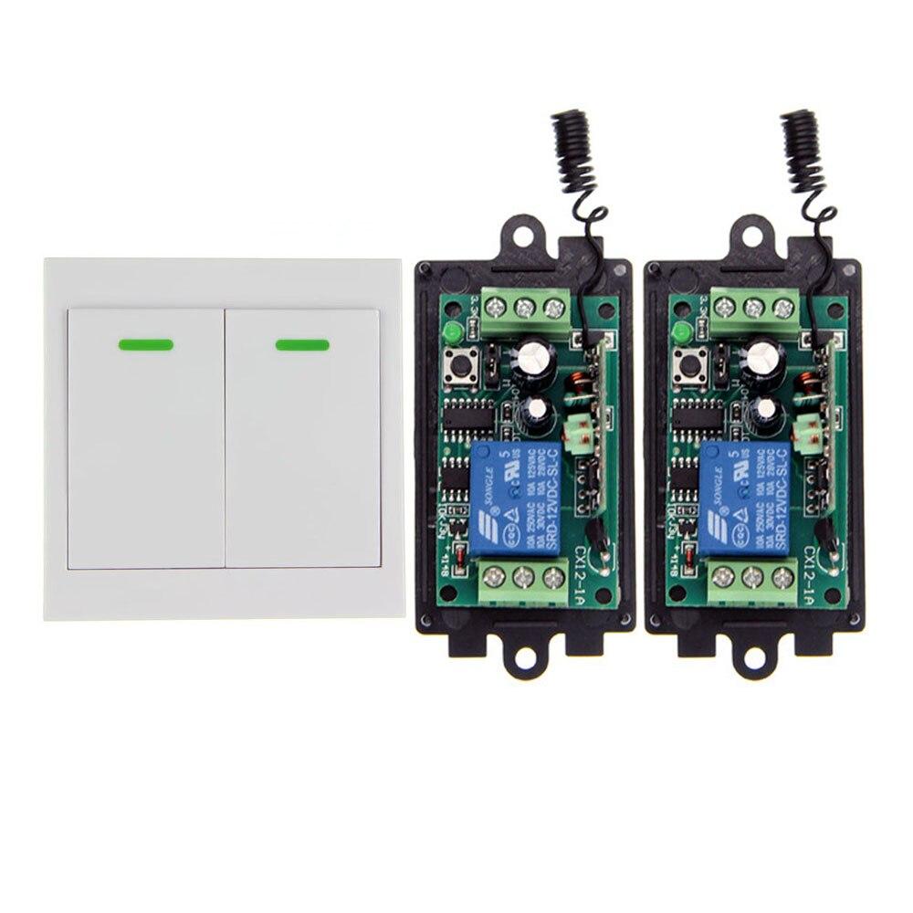 DC 9V 12V 24V 1 CH 1CH RF Wireless Remote Control Switch System Receiver+ 2CH Wall Panel Transmitter,315/433.92MHZ,Self-lock dc 12v 2ch 2 channel wireless rf remote control switch 3 transmitter and 1 receiver for wireless system 3312