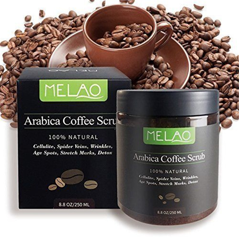 Café Arábica Cuerpo matorrales aceite de coco natural Cuerpo Exfoliante para blanquear humedad reduciendo la celulitis 250 ml Cuidado DE LA PIEL