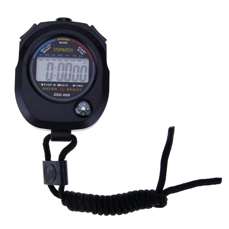 Sports Stopwatch Professional Handheld Waterproof LCD Digital Stopwatch Timer Chronograph Counter Sport Alarm 2018 fashion digital professional handheld lcd chronograph sports stopwatch stop watch teacher s watches men s relogios f80