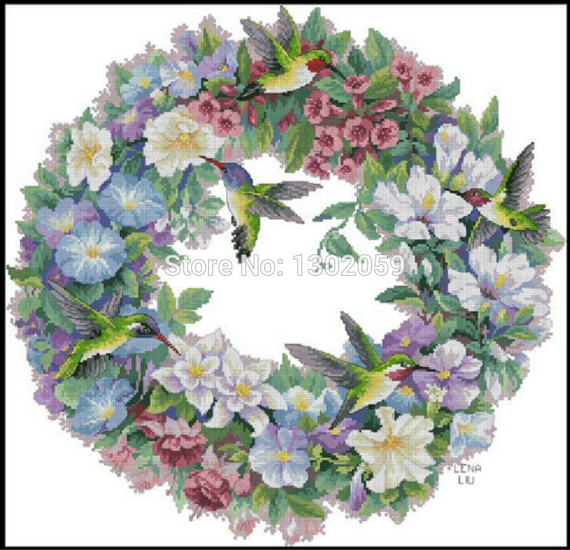 Home & Garden Available Bee Bird Flower Garland Needlework Embroidery Package Cross Stitch Kit Factory Sale 18ct/16ct/14ct/11ct/9ct Cross-stitch
