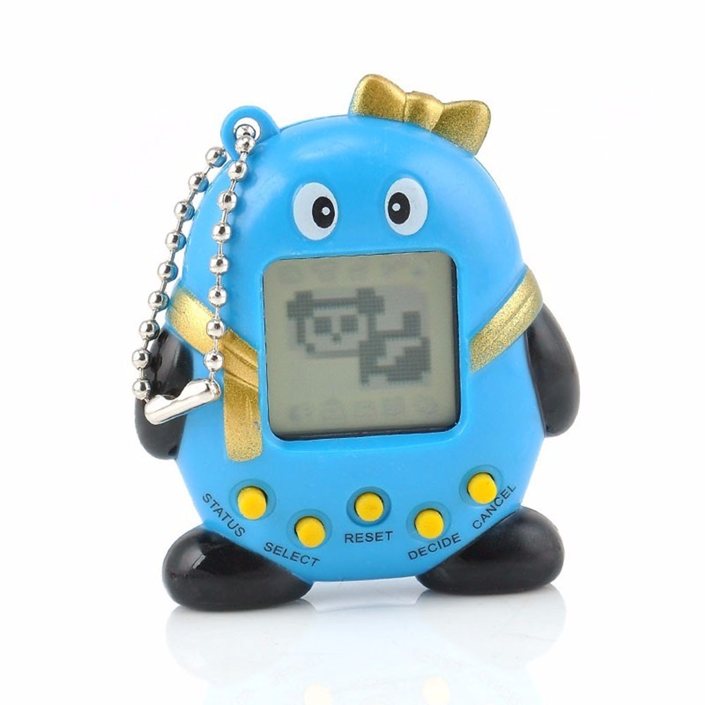 NEW 90S Nostalgic Cute Penguin Cyber Kids Pet Toy 49 Pets in One Virtual Pet Game With Key Chain Ring