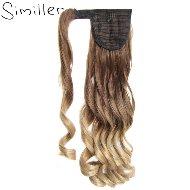 Similler 22 Ombre Curly Synthetic Ponytail Wrap Around Clip In Hair