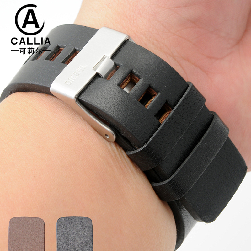 High Quality Genuine Calf Hide Leather For Diesel Watch Strap Band For DZ7257 DZ7345 27mm 28mm