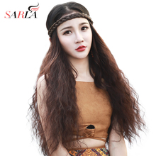 U-Part Kinky Curly Wigs for Women Synthetic Clip in Hair Extensions One Piece Natural Water Wave Wig Long Brown 26''Wig U07 недорого