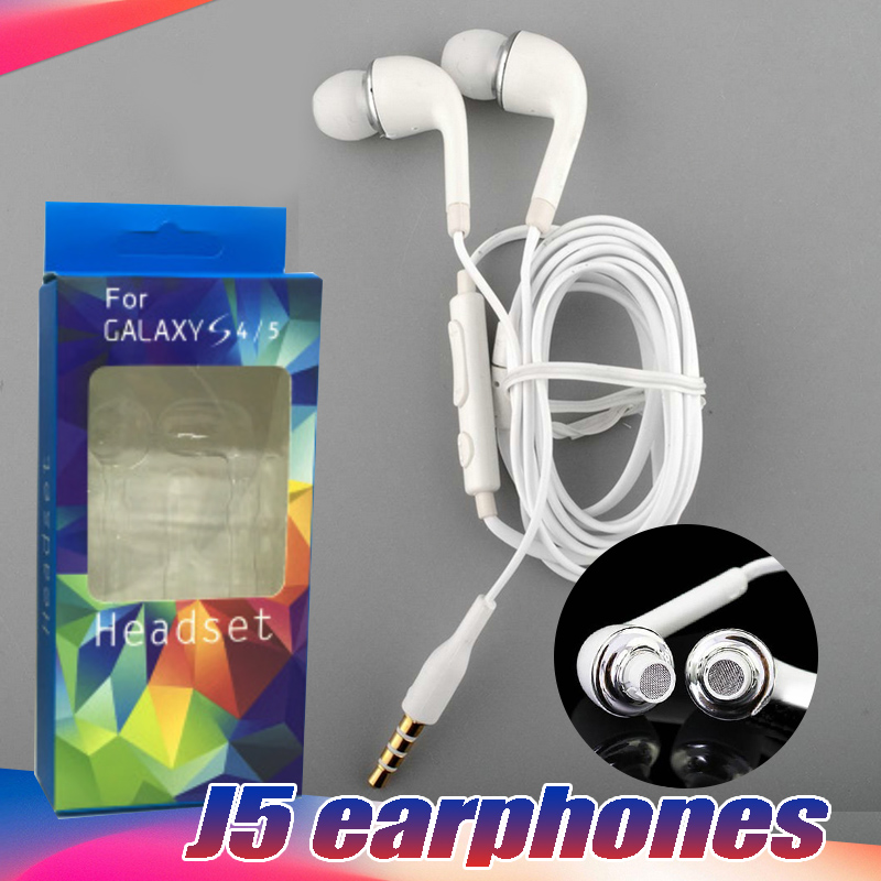 100PCS/Lot Good Quality 3.5mm J5 Earphones In-ear Hands-free S4 earphone with Mic box sports For Samsung HTC Xiaomi Huawei Phone