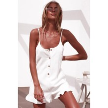 Women Spaghetti Ruffle Loose Romper Summer Backless Button Short Jumpsuit Holiday Fashion Pure Casual Playsuit ruffle strap button front palazzo jumpsuit