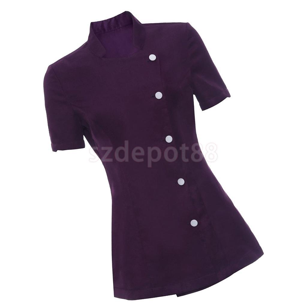 f07ca0eb8cf46e Pack of 2pcs Salon Spa Beauty Beautician Hairdressers Nails Healthcare  Nurse Doctor Uniform Tunic Purple Work
