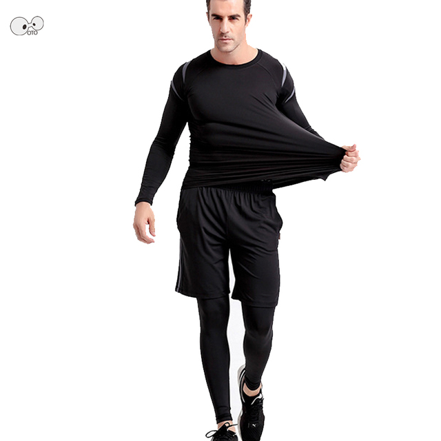 3pcs Quick Dry Men Elastic Running Sets Gym Fitness Clothing Sportswear Male Basketball Jerseys Training Suit Compression Kits