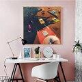 HAOCHU 2 комплекта поп-арт космическая станция космический корабль черная и красочная Картина на холсте Сатурн принты и Картина Декор детской ...