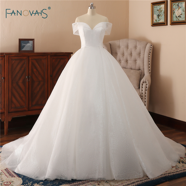 Aliexpress Wedding Dress | Simple Wedding Dress 2018 Off The Shoulder Bridal Gown Long Shiny