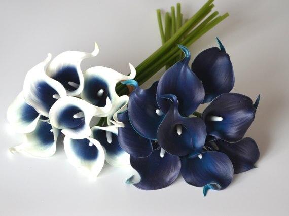 navy blue calla lilies real touch flowers silk bridal bouquets bridesmaids bouquets wedding centerpieces decorations