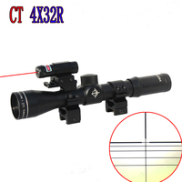 SEIGNEER Tactical CT4X32R five line differentiation red laser 25 Pipe diameter integrated optical sight For Airsoft Hunting Shoo