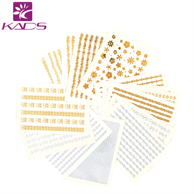 KADS Hot Selling 20pcs/set 3D Gold&Silver Lace Pattern Water Nail Art Decals Manicure Transfer Stickers Nail Art Decoration Tool цены