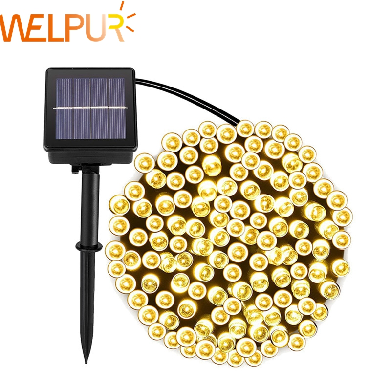 Lâmpadas de corda solar para jardim à prova dwaterproof água iluminação ao ar livre 5m 7m 12 22m 6v natal decoração do feriado fada bateria solar