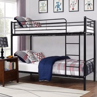 Giantex Металл за две двухъярусная кровать с лестницы для детей и подростков общежития Спальня мебель белый черный Сталь рама каркас кровати