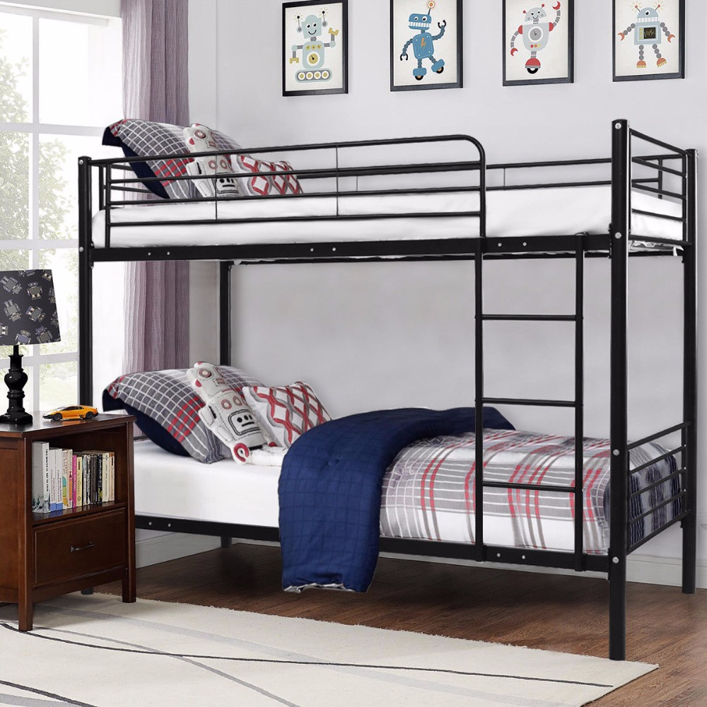 Giantex Metal Twin Over Twin Bunk Bed with Ladder Kids Teens Dorm Bedroom Furniture Whit ...