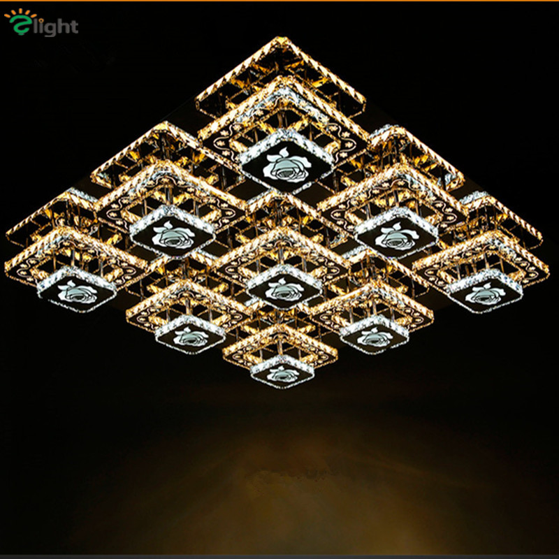 Modern Rose Steel Led Chandeliers Lighting Lamparas Lustre Crystal Living Room Led Ceiling Chandelier Lights Luminarias Fixtures modern multicolour crystal ceiling lights for living room luminarias led crystal ceiling lamp fixtures for bedroom e14 lighting