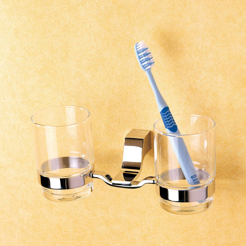 ФОТО Glass Cup Holder Wall Mounted Vintage High Great Chrome Double Toothbrush Tumble Holder with Brass, Hanging Bathroom Accessory