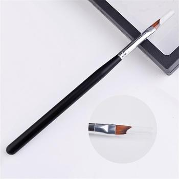 1PC New Charming Smile Half Moon Shape Acrylic French Nail Brush UV Gel Painting Brush Black Handle Manicure Pen Tools Nail Art Accessories