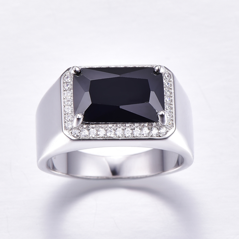 Bonlavie Men's 6.8ct Emerald Cut Black Spinel 925 Sterling Silver Wedding Engagement Ring G8c0Y1Z