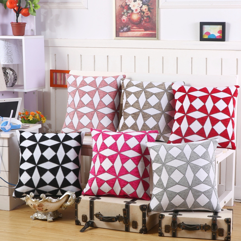 Geometric Red Black Grey Square Vintage Cushion Cover European Style Decorative Pillow Covers Car Chair Sofa