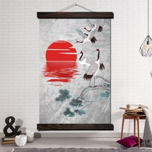 Modern Canvas Art Prints Poster Wall Painting Scroll Artwork Pictures Red-crowned crane Japan