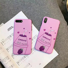 Korean Purple grape drink 6 phone case for iphone7 6s 7 8plus heart silicone soft cover for iphone xr x xs max 8 7 6 s plus i10 все цены