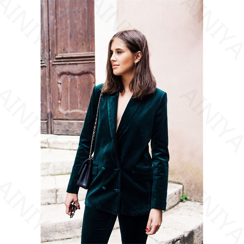 Custom Made Formal Office Women's Business Suits Dark Green Velvet Suits Slim Fit Style Uniform Work Wear 2 Piece Defines Double