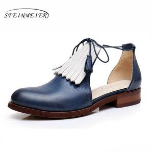 Image 4 - صنادل نسائية مسطحة من الجلد الطبيعي أحذية نسائية من Yinzo صنادل صفراء مسطحة أحذية نسائية كلاسيكية أحذية أكسفورد للنساء 2020