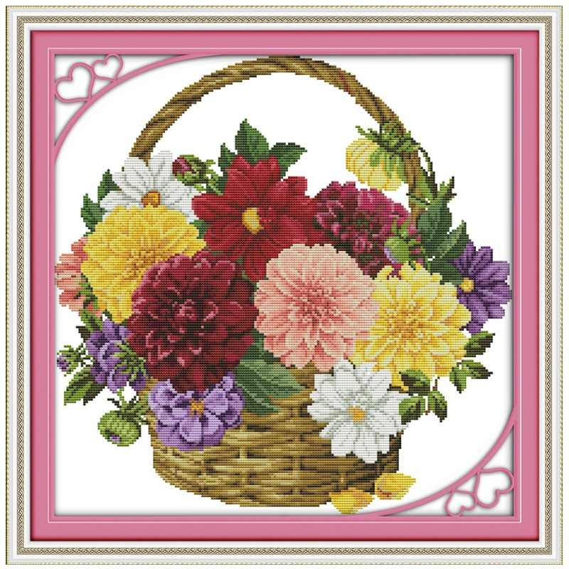 Lilac Rose Tulips Flower basket counted 11CT 14CT Cross Stitch Set DIY DMC Cross-stitch Kit Embroidery Needlework Home Decor