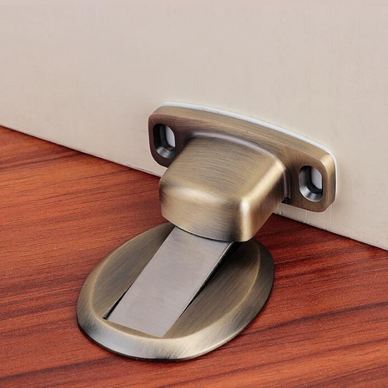 Stainless Steel Door Stopper magnetic Casting Powerful Floor-mounted door buffer holder furniture accessories Hardware 50 percent off stainless steel gate door wall suction magnetic p41 strong resistance
