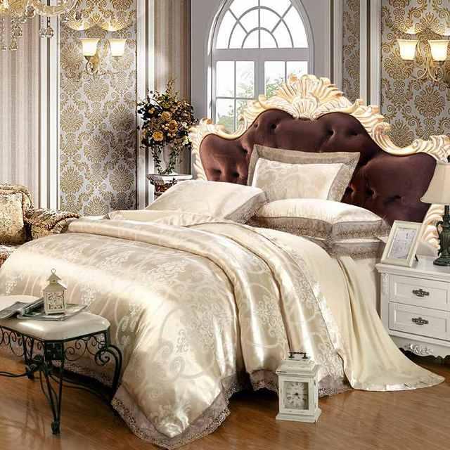 dentelle ensemble de literie 4 pcs linge de lit en jacquard reine lit king size ensemble